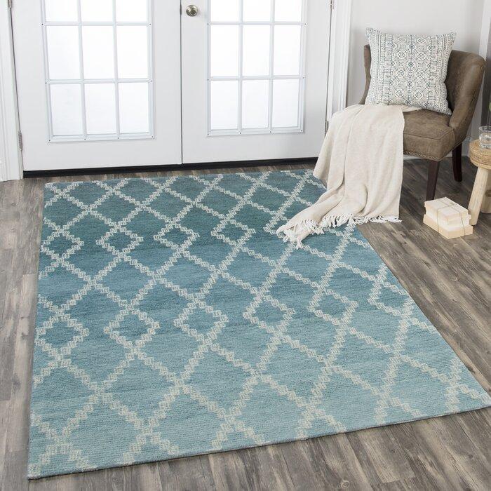 Brayden Studio Roberts Hand Tufted Wool Teal Area Rug Wayfair Ca