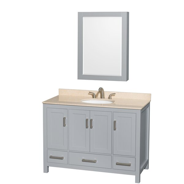 Sheffield 48 Single Gray Bathroom Vanity Set with Medicine Cabinet by Wyndham Collection