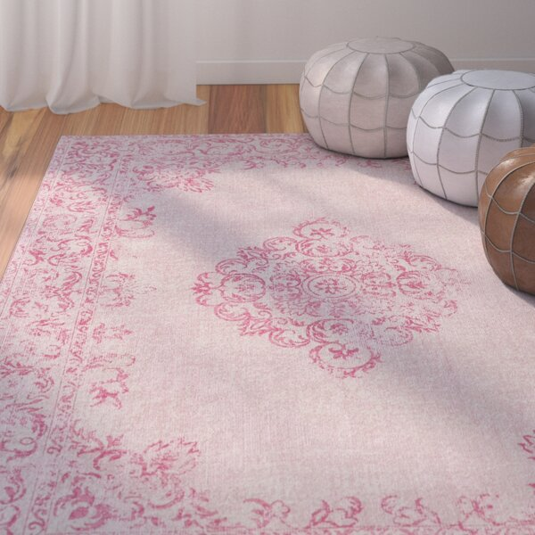 Cordele Hand-Woven Bright Pink/Blush Area Rug by Bungalow Rose