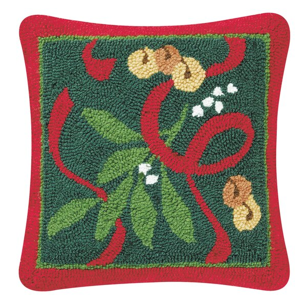 Holly Hooked Throw Pillow by C&F Home