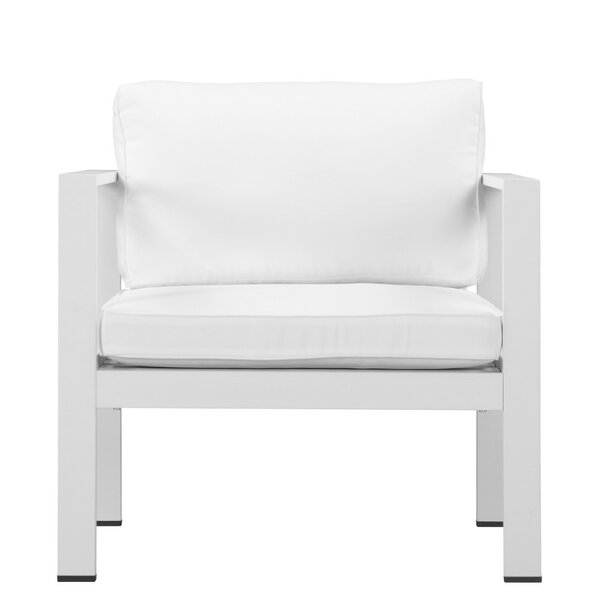 Barlow Desirable Upholstered Anodized Aluminum Patio Dining Chair with Cushion by Brayden Studio