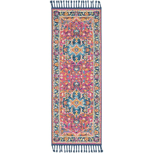Bacchus Traditional Bright Pink/Navy Area Rug by Bungalow Rose