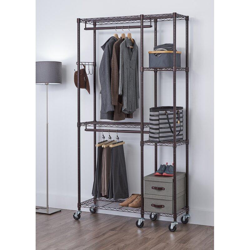trinity ecostorage 41 w mobile garment rack reviews wayfair rh wayfair com diy garment rack with shelves garment rack with shelves costco
