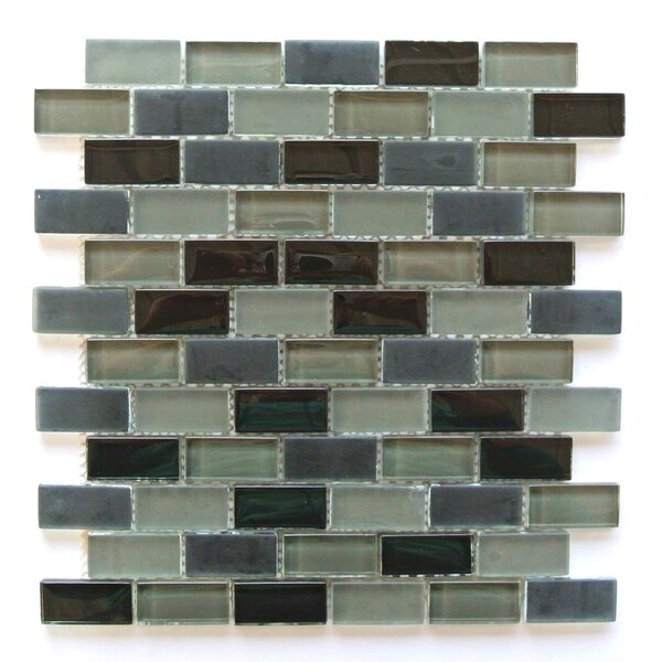 Free Flow 1 x 2 Glass Mosaic Tile in Gray Mix by Abolos
