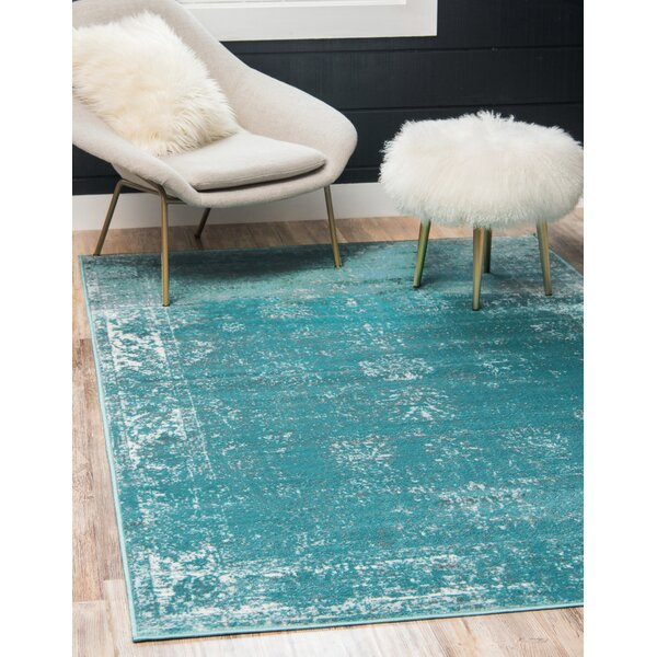 Brandt Turquoise/White Area Rug by Mistana