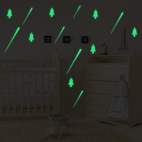 Gradall Meteor and Rocket Glowing Wall Decal by Zoomie Kids