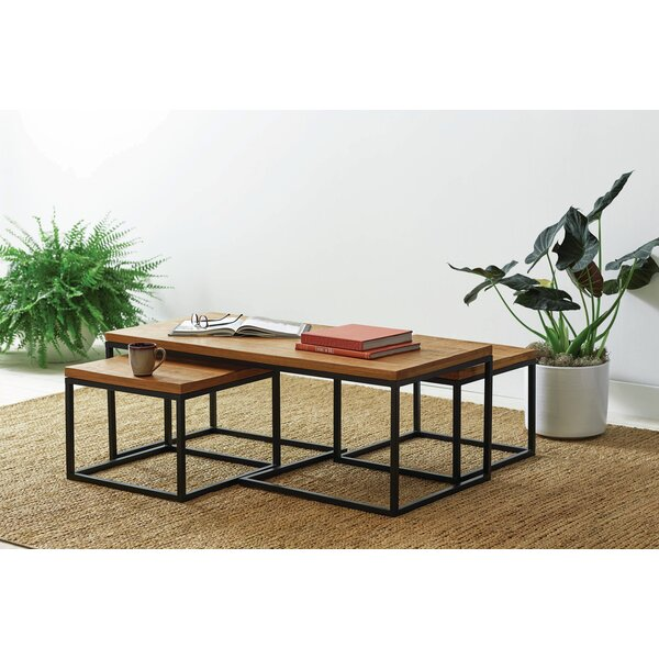 3-Peice Coffee Table Set Natural/Matte Black (Set of 3) by Foundry Select Foundry Select