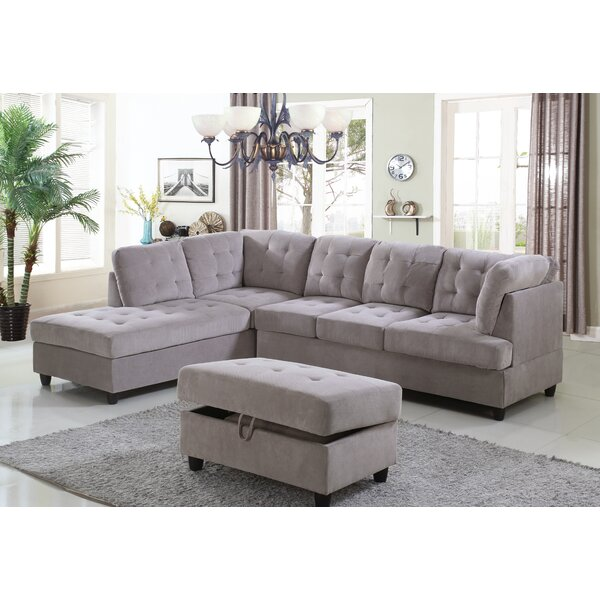 Modern Collection Borchert Sectional with Ottoman by Red Barrel Studio by Red Barrel Studio