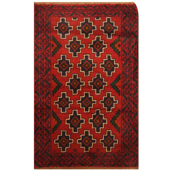 One-of-a-Kind Pressnell Balouchi Hand-Knotted Wool Red/Navy Area Rug by Bloomsbury Market