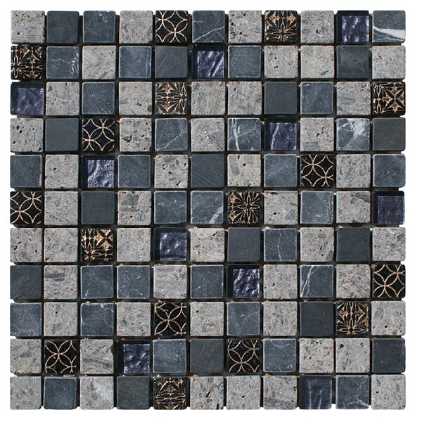Natural Splendor 1 x 1 Glass and Natural Stone Mosaic Tile in Unpolished Gray, black and gold by Intrend Tile