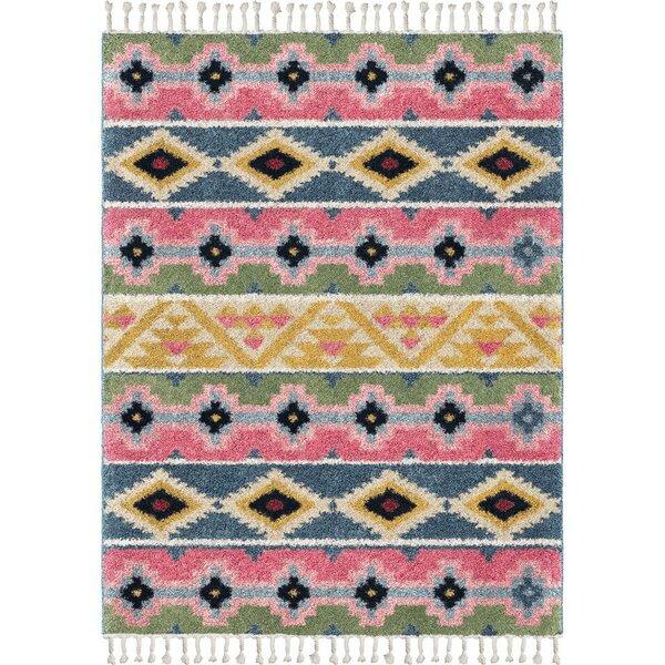 Kemah Stripe Saffron/Pink/Blue Area Rug by Bungalow Rose