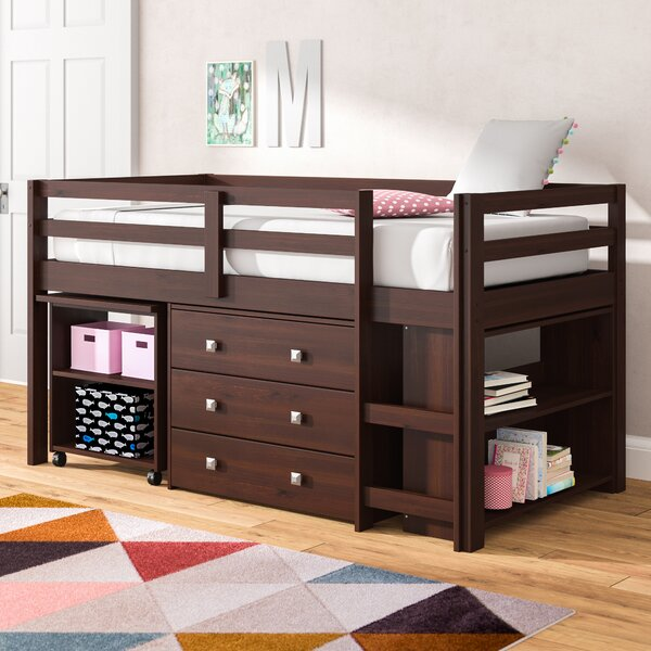 Senger Twin Low Loft Bed with Bookcase and Drawers by Viv + Rae