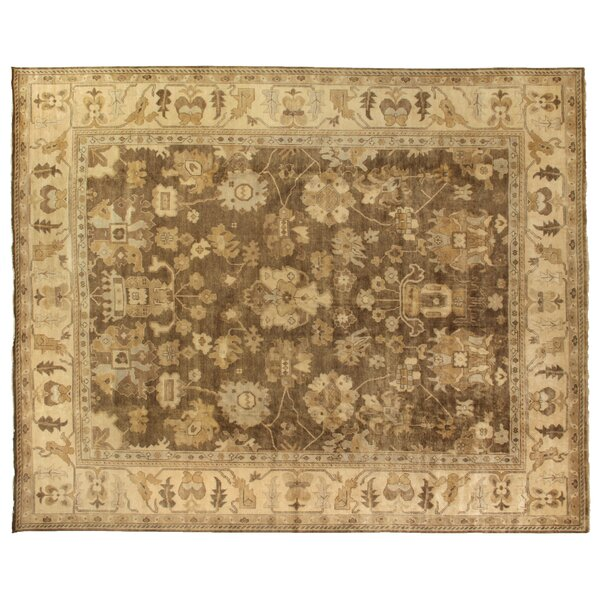 Oushak Hand Woven Wool Gray/Ivory Area Rug by Exquisite Rugs