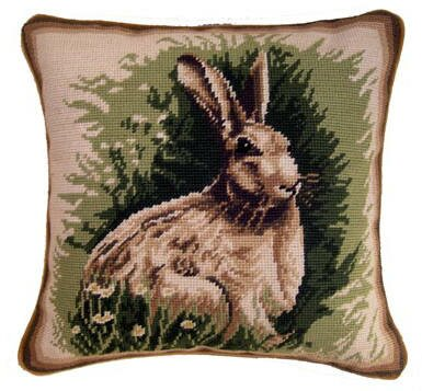 Espey Handmade Needlepoint Rabbit Wool Throw Pillow by August Grove
