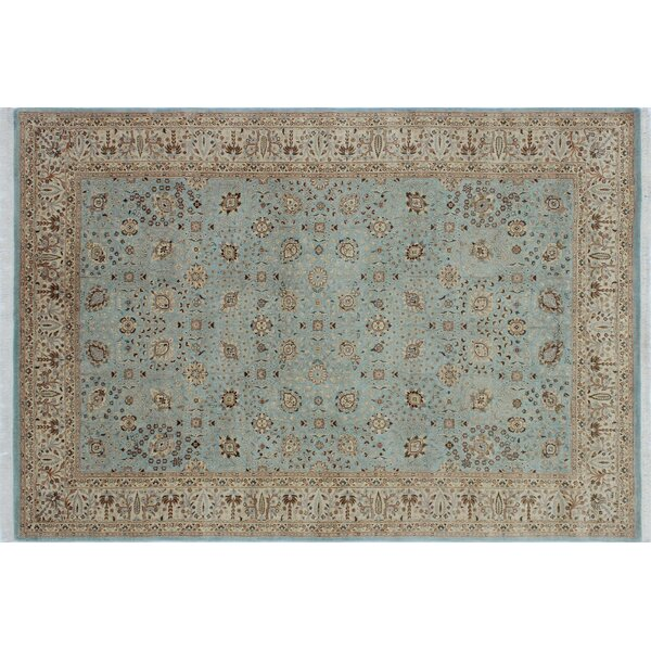 Arthen Border Hand Knotted Wool Blue Area Rug by World Menagerie