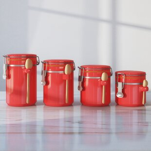 Ceramic Red Kitchen Canisters Jars