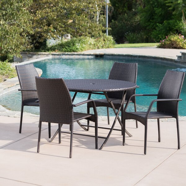 Derrion Outdoor Wicker 5 Piece Dining Set By Orren Ellis