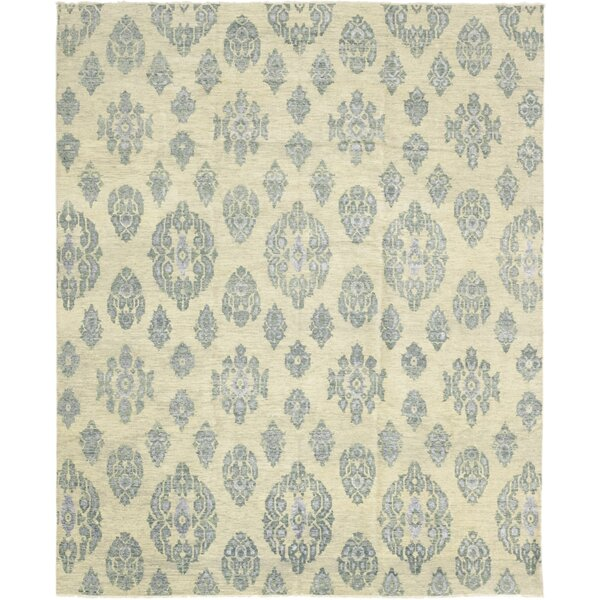 One-of-a-Kind Dewey Hand-Knotted Wool Blue/Beige Indoor Area Rug by Isabelline