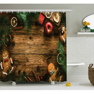 Best Reviews Christmas Rustic Lodge Wood Shower Curtain By The Holiday Aisle