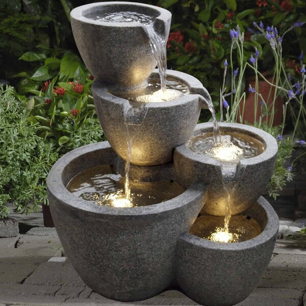 Resin/Fiberglass Multi Pot Fountain with Light by Jeco Inc.