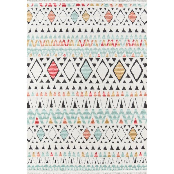 Hassett Ivory/Blue Area Rug by Bungalow Rose