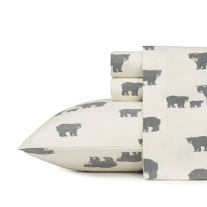 Bear Family 100% Cotton Flannel Sheet Set