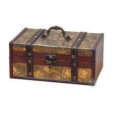 Decorative Leather Treasure Trunk Box by Quickway Imports