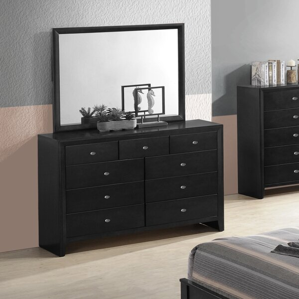 Willenhall 9 Drawer Double Dresser with Mirror by Ebern Designs