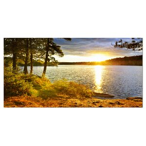 'Beautiful View of Sunset over Lake' Photographic Print on Wrapped Canvas by Design Art