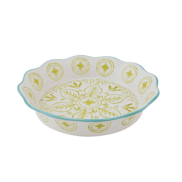 Edelen Round Stoneware Hand-Painted Pie Pan by Bungalow Rose