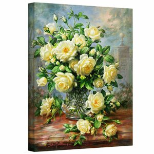 'Princess Diana Roses in a Cut Glass Vase' Painting Print on Canvas by Charlton Home