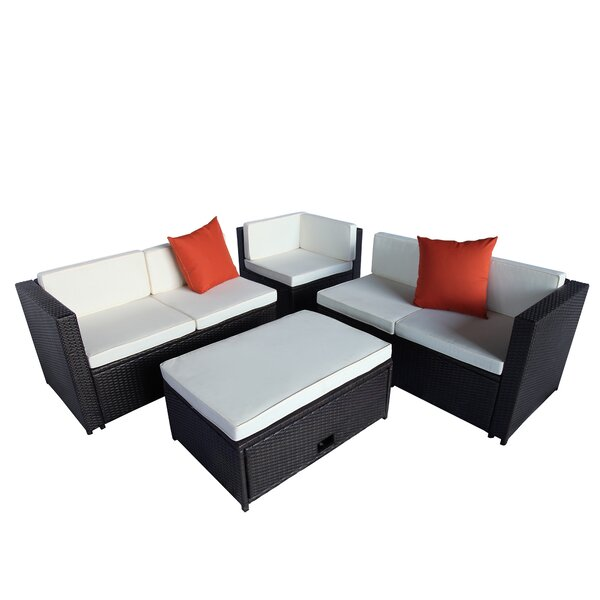 lInde 4 Piece Rattan Sectional Seating Group with Cushions by Latitude Run
