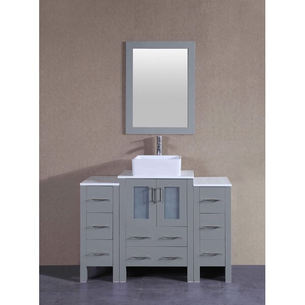 Amethyst 48 Single Bathroom Vanity Set with Mirror by Bosconi