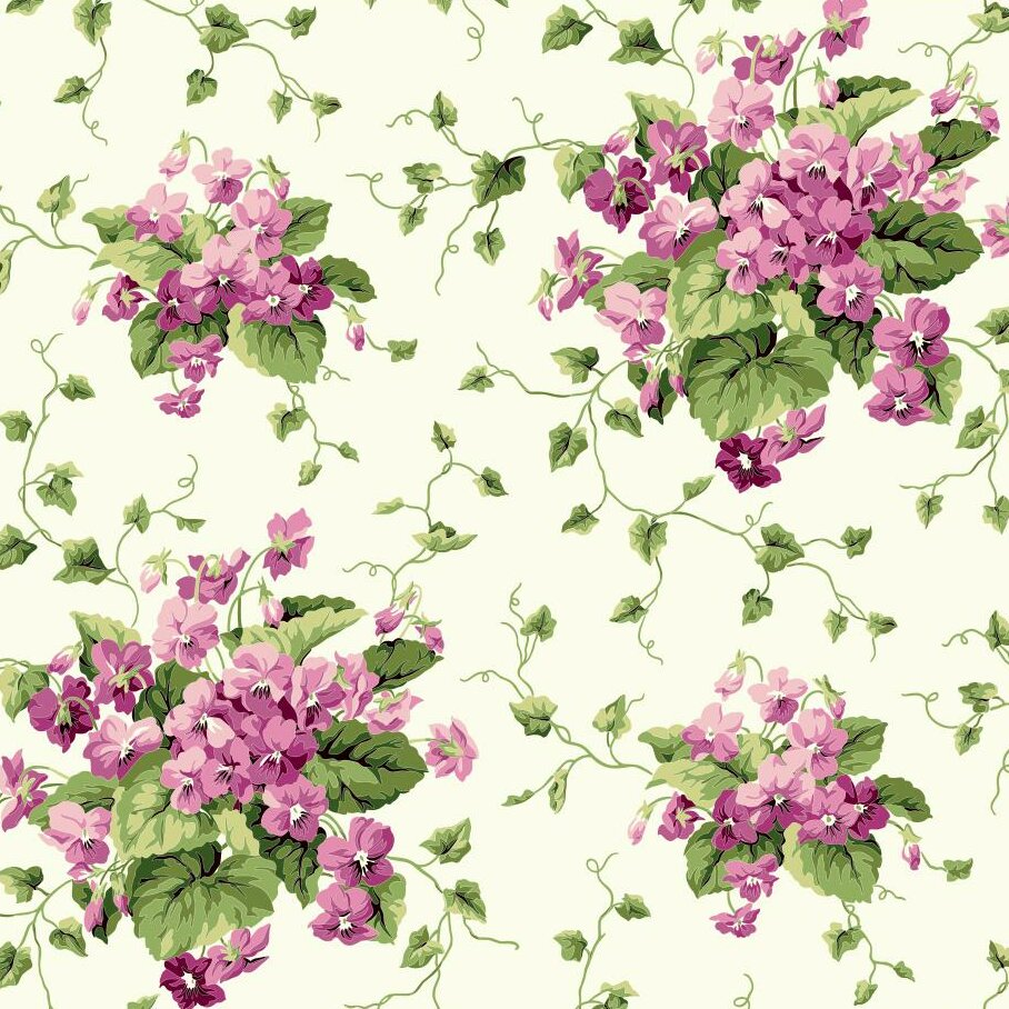 York Wallcoverings Waverly Cottage Sweet Violets 33 X 20 5