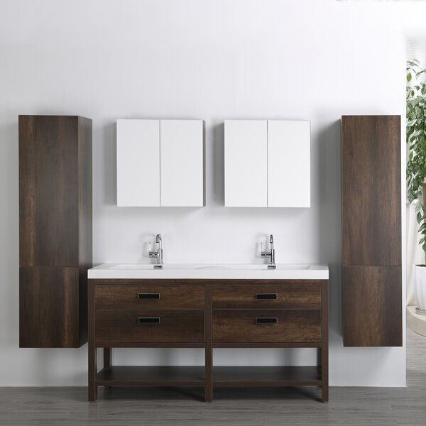 63 Double Bathroom Vanity Set with Mirror by Streamline Bath