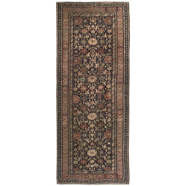 One-of-a-Kind Hand-Knotted Before 1900 Orange/Green 5'2 x 13'2 Runner Wool Area Rug