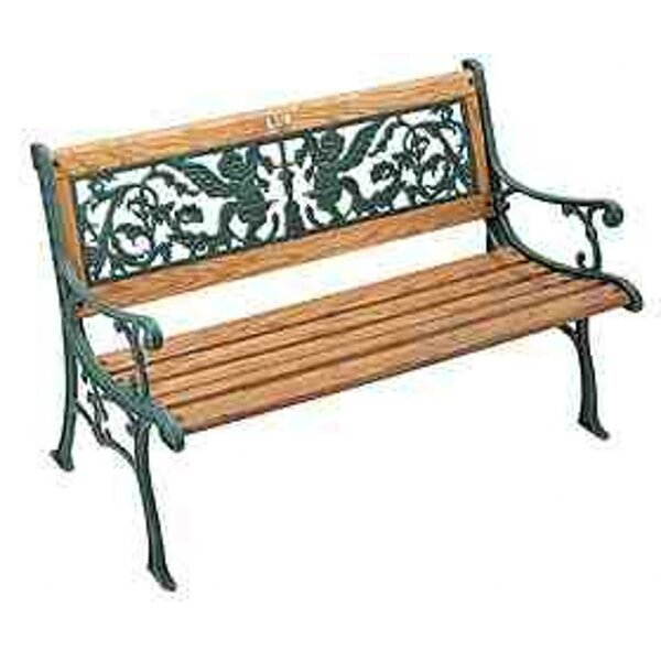 Cherubs Wood and Cast Iron Park Bench by DC America