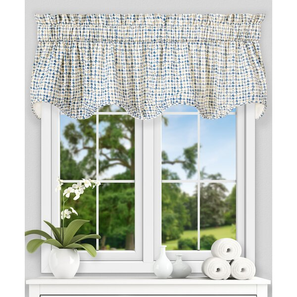 Brandon Ikat Check Lined Scallop 70 Curtain Valance by Langley Street