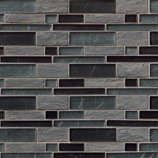 Perspective Blend Interlocking Pat Random Sized Glass/Stone Mosaic Tile in Gray by MSI