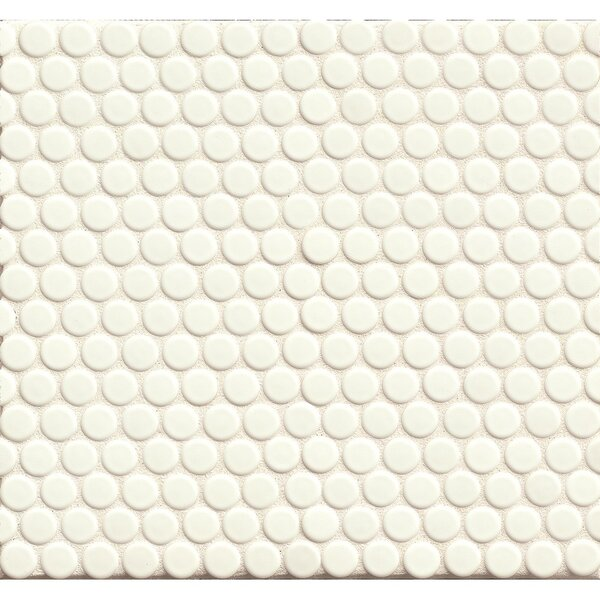 Penny Round Mosaic 12 x 12 Porcelain Tile in White Glossy by Grayson Martin