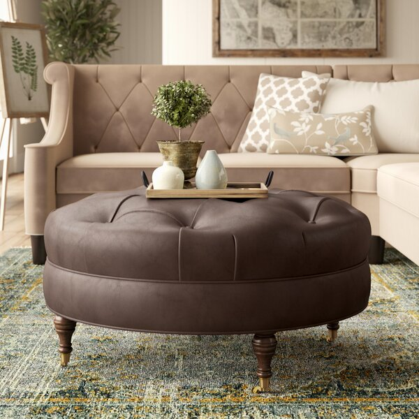 """Lowery Tufted Leather Ottoman by Birch Laneâ""""¢ Heritage"""