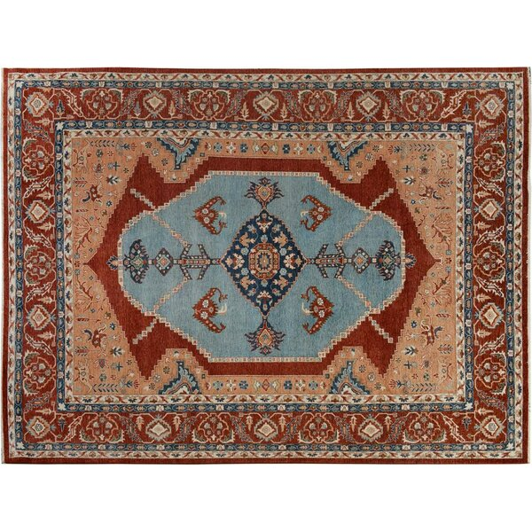 Bear River Hand-Knotted Wool Blue/Rust Area Rug by Bloomsbury Market