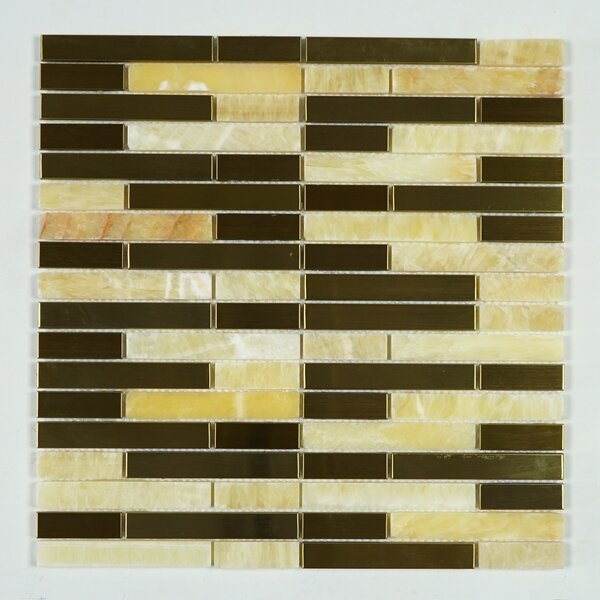 Honey Onyx Random Sized Mixed Material Tile in Gold/Copper by Multile