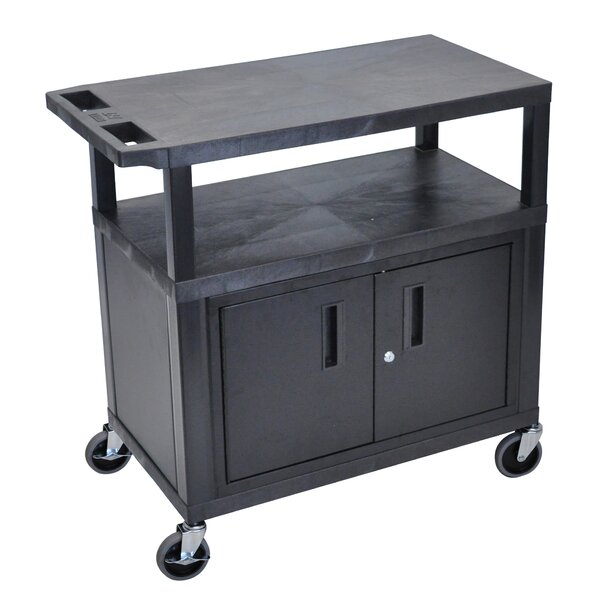AV Cart with 3 Shelves and Cabinet by Luxor