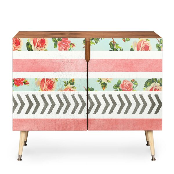 Floral Stripes and Arrows 2 Door Accent Cabinet by East Urban Home