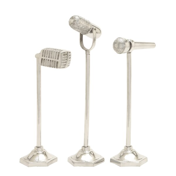 Aluminum Microphone Sculpture Set (Set of 3) by Cole & Grey
