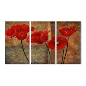 Poppies on Spice 3 Piece Triptych Wall Plaque Set by August Grove