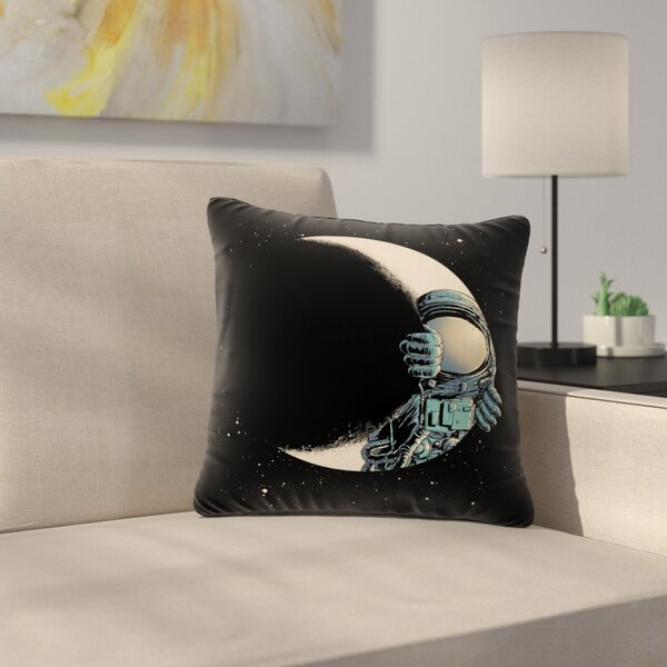 digital carbine Crescent Moon Illustration Outdoor Throw Pillow by East Urban Home