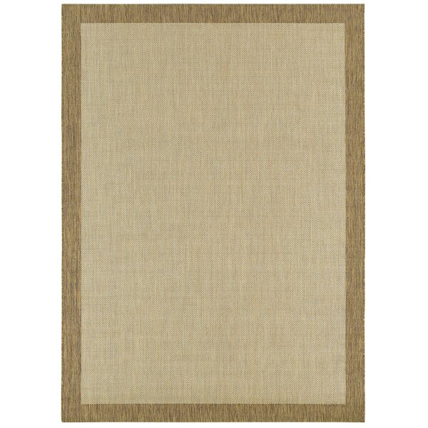 Sanchez Border Tan/Beige Indoor/Outdoor Use Area Rug by Bay Isle Home