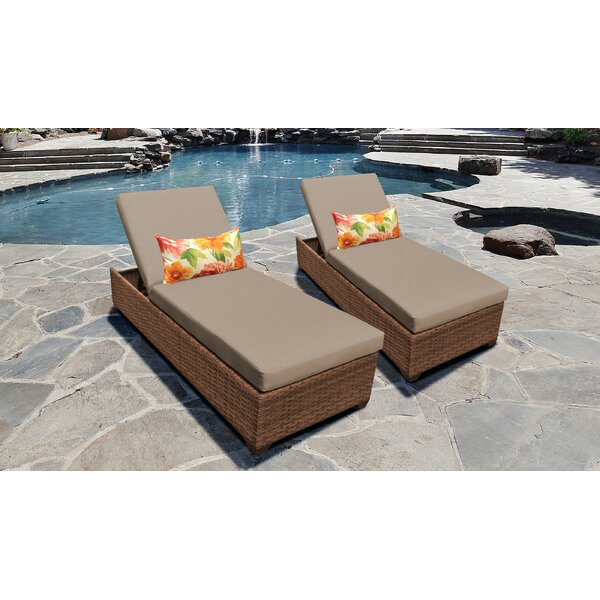 Medina Reclining Sun Lounger Set with Cushion (Set of 2) by Rosecliff Heights
